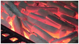 備長炭火での焼き
